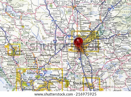 Sacramento California area map - stock photo