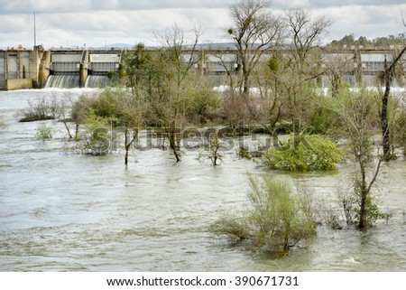 Sacramento, California, March 14, 2016 Localized flooding along the lower American River is a result from recent back-to-back storms in Northern California.  - stock photo