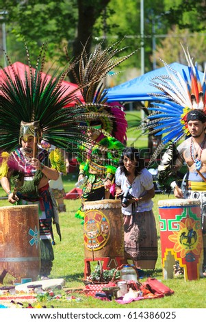 SACRAMENTO, CALIFORNIA, USA - APR 02, 2017: Aztec dance ritual at Southside Park, 43rd annual Xipe/Colores, ceremony honoring the children, Spring time new life, New beginnings.