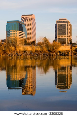 Sacramento downtown at sunset - stock photo