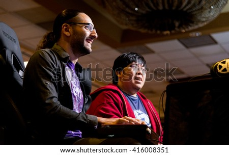 SACRAMENTO - MARCH 27: ChrisG versus Justin Wong in Ultimate Marvel vs. Capcom 3 match at video game competition on March 27, 2016 at NCR NorCal Regionals, the premier fighting game tournament. - stock photo