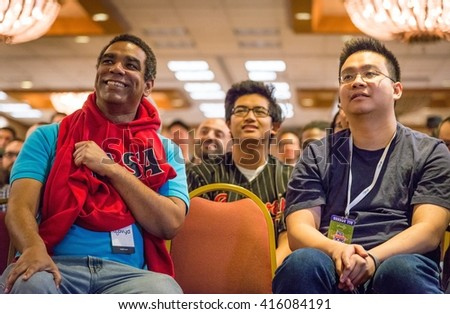SACRAMENTO - MARCH 26: Jason AfroCole Cole and other spectators at Street Fighter V video game competition on March 26, 2016 at NCR NorCal Regionals, the premier fighting game tournament. - stock photo
