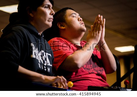 SACRAMENTO - MARCH 27: Marn versus Ricki Ortiz of Evil Geniuses during Street Fighter V match at video game competition on March 27, 2016 at NCR NorCal Regionals, the premier fighting game tournament. - stock photo