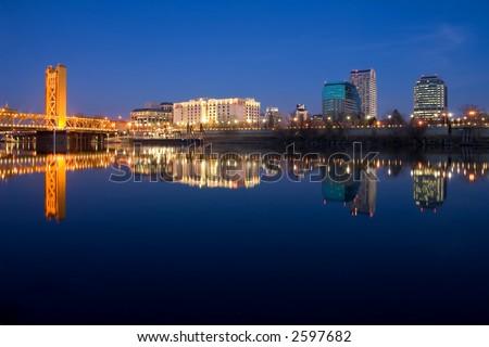 Sacramento reflection in the river - stock photo