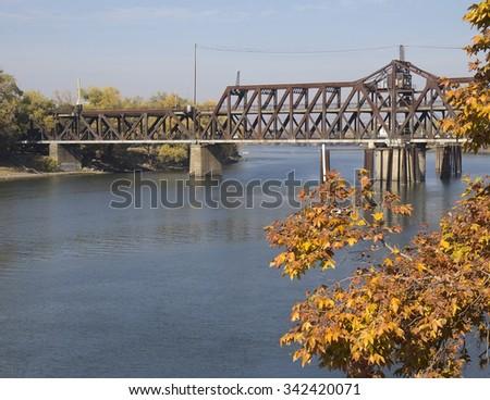 Sacramento River and I Street Bridge in Sacramento, California - stock photo