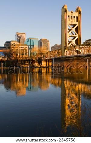 Sacramento River at sunset - stock photo