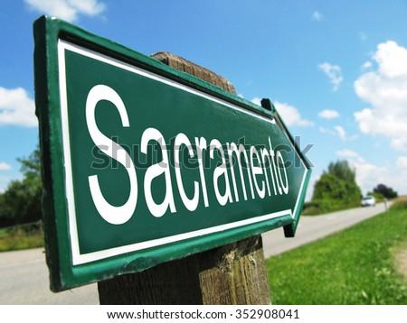 Sacramento signpost along a rural road - stock photo