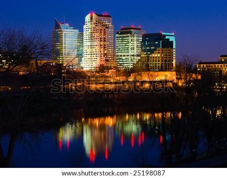 Sacramento skyline at night - stock photo