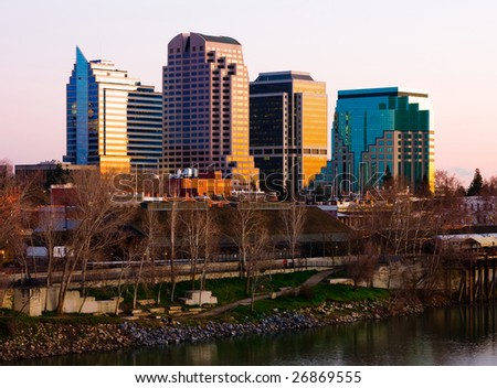 Sacramento skyscrapers at sunset - stock photo