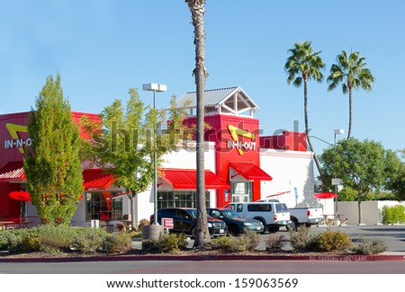 SACRAMENTO, USA - SEPTEMBER 23:  In-n-out Burger restaurant on September 23, 2013 in Sacramento, California. In-N-Out Burger is a regional chain of fast food restaurants in United States. - stock photo