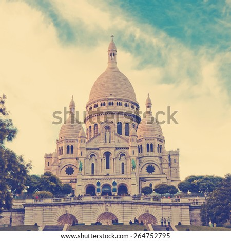 Sacre-Coeur basilica (Basilica of the Sacred Heart of Jesus), Montmartre, Paris.  Instagram style filtred image - stock photo