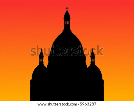 Sacre Coeur Basilica Montmartre at sunset with colorful sky JPG