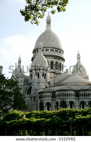 Sacre Coeur, Paris, France - vue from the parc in summer - stock photo
