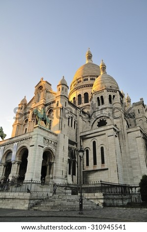 Sacre Cour is important church in Paris - stock photo