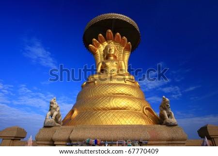 Sacred Buddha image in Thailand - stock photo