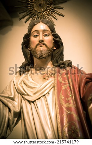 Sacred Heart of Jesus sculpture in Portugal - stock photo
