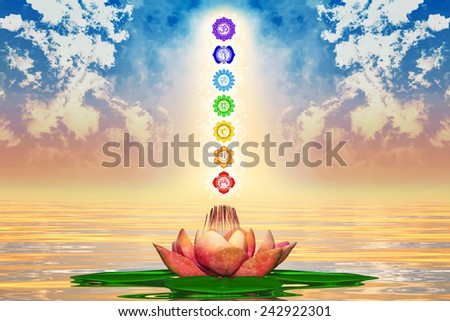 Sacred Lotus And Chakras - stock photo