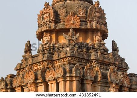 Sacred monuments in holy Hampi city. Stone temples of the royal dynasty - stock photo