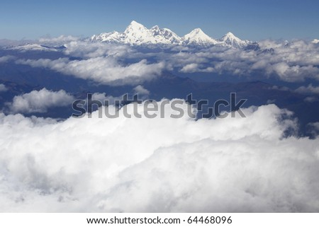 Sacred mountain of the goddess, or Mount Jholmolhari - the most sacred mountain of Bhutan. - stock photo