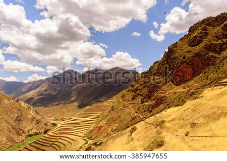 Sacred Valley of the Incas or the Urubamba Valley, a valley in the Andes of Peru, close to the Inca capital of Cusco - stock photo