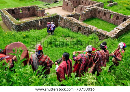 SACRED VALLEY, PERU - MARCH 09: Traditional peruvian wedding ceremony at Temple of Water ruins in Sacred Valley near Cuzco, Peru on March 09, 2010. - stock photo