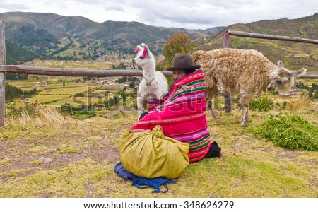 SACRED VALLEY, PERU - MAY 27: Peruvian woman sits with her alpacas in the Sacred Valley, Peru on May 27, 2011. The Sacred Valley is close to the ancient city of Machu Picchu. - stock photo