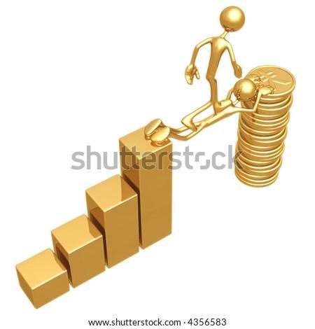 Sacrifice Bridge Between A Bar Graph And A Gold Yen Coin Stack - stock photo