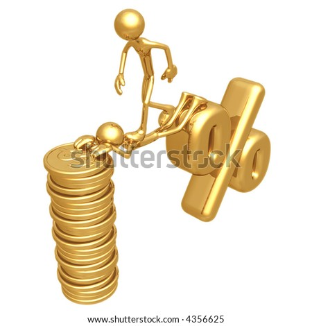 Sacrifice Bridge Between Percentage Symbol And Gold Dollar Coin Stack - stock photo