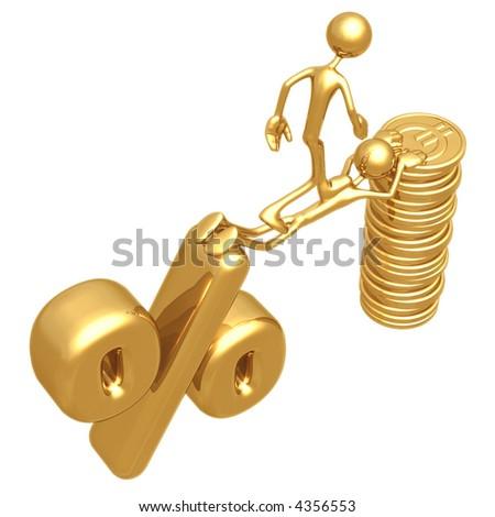 Sacrifice Bridge Between Percentage Symbol And Gold Euro Coin Stack - stock photo