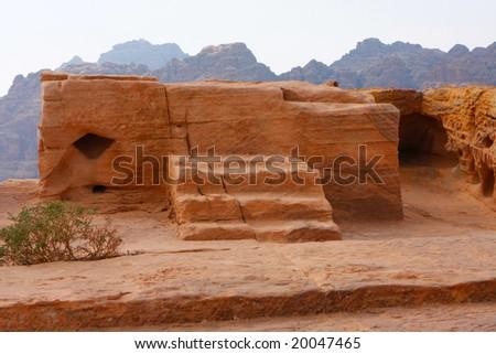 Sacrifice place in ancient Petra, Jordan - stock photo