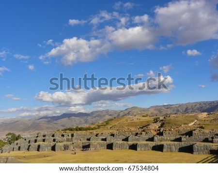 Sacsayhuaman Ruins,Cuzco, Peru. Sacsayhuaman - fortress in the north of Cusco - megalithic structures, the last stronghold of the Incas.