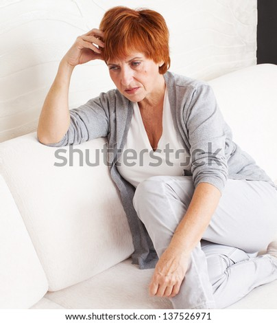Sad adult woman at home. Grief female. Depression, stress - stock photo