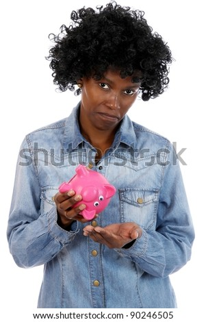 Sad African Lady with No Money - stock photo