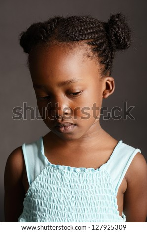 Sad African little girl