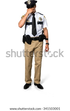 Sad African young man with short black hair in uniform doing facepalm - Isolated - stock photo
