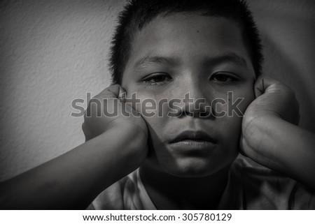 sad alone and fear - stock photo