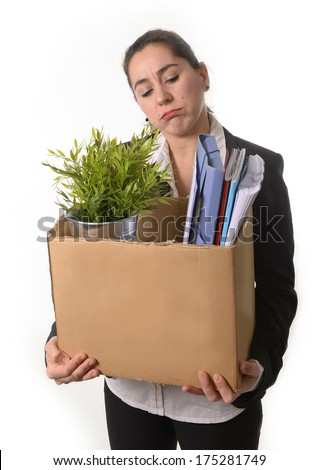 Sad and Angry Business Woman  Fired from Job because of Financial Crisis  carrying Cardboard Box with Office Belongings  isolated on white background