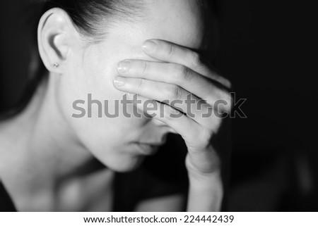 Sad and depressed woman  - stock photo