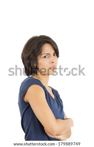 Sad and Depressed Woman Over White Background - stock photo