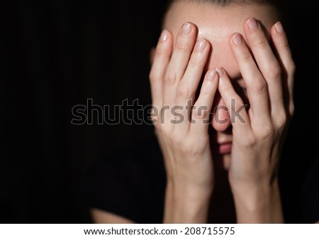 Sad and depressed young woman. - stock photo