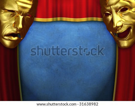 Sad and happy masks over opening curtains. Digital illustration. - stock photo