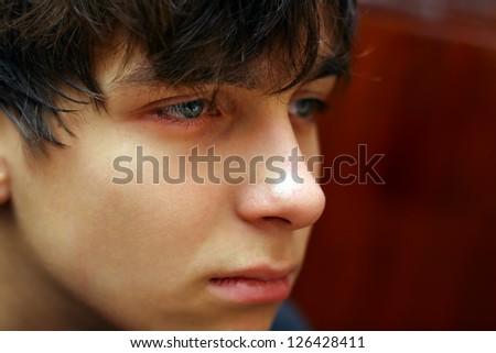 Sad and Pensive Teenager Portrait Closeup - stock photo