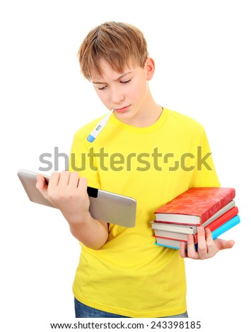 Sad and Sick Schoolboy with the Books and Tablet on the White Background - stock photo