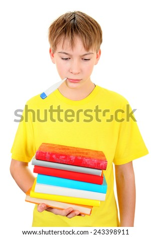 Sad and Sick Schoolboy with Thermometer on the White Background - stock photo