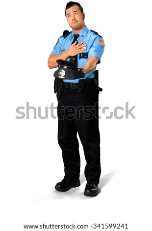 Sad Asian man with short black hair in uniform holding prop - Isolated
