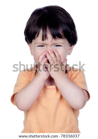 Sad baby girl crying isolated on a over white background - stock photo