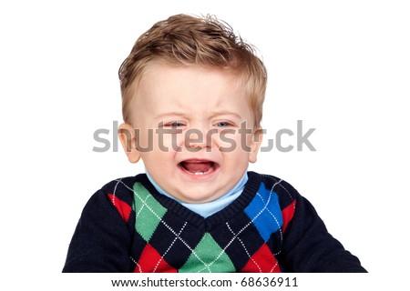 Sad baby isolated on white background - stock photo