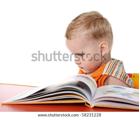 Sad baby with book