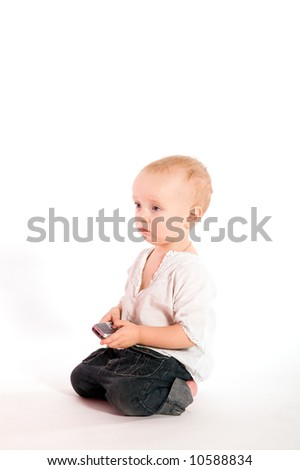 Sad baby with phone isolated on white
