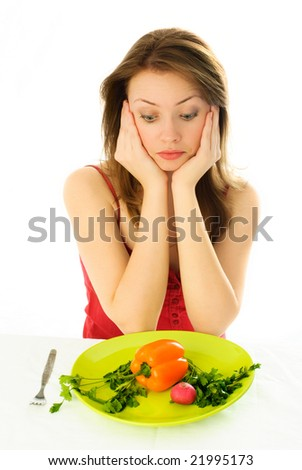 sad beautiful woman keeping a diet isolated against white background - stock photo